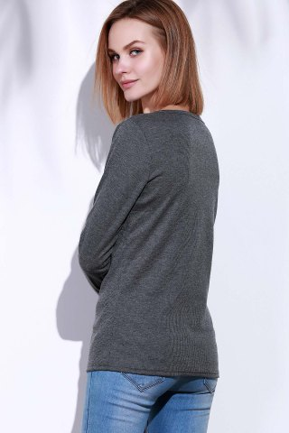 Latest Casual V-Neck Long Sleeve Pure Color T-Shirt For Women - L GRAY Mobile