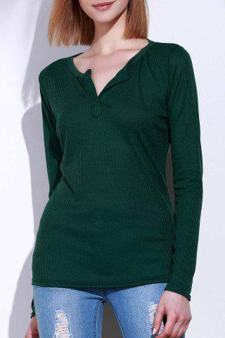 Sale Casual V-Neck Long Sleeve Pure Color T-Shirt For Women