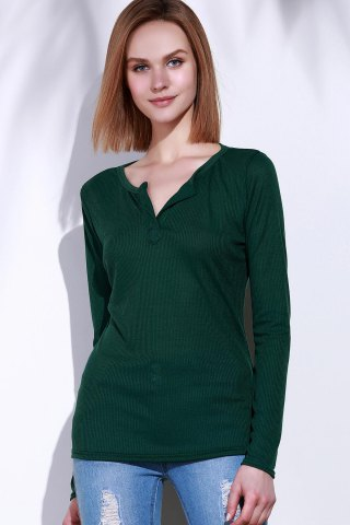 Outfits Casual V-Neck Long Sleeve Pure Color T-Shirt For Women - L GREEN Mobile