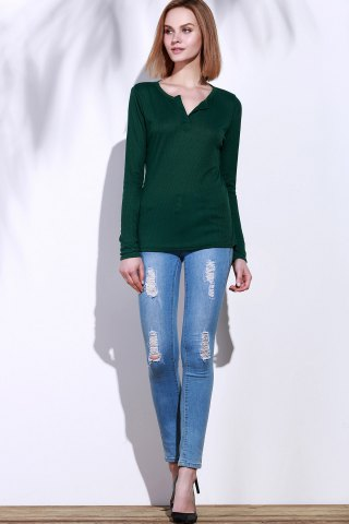 Latest Casual V-Neck Long Sleeve Pure Color T-Shirt For Women - L GREEN Mobile