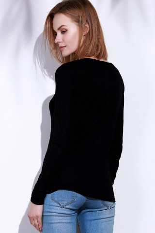 Buy Casual V-Neck Long Sleeve Pure Color T-Shirt For Women - L BLACK Mobile