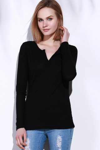 Online Casual V-Neck Long Sleeve Pure Color T-Shirt For Women - L BLACK Mobile