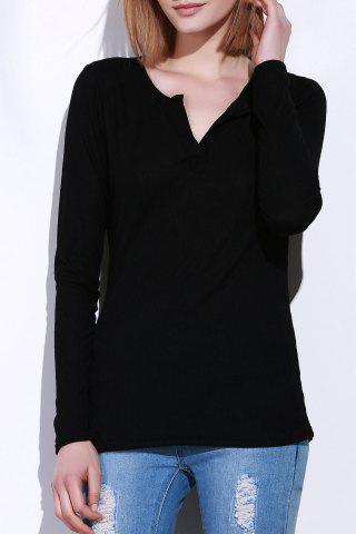 Best Casual V-Neck Long Sleeve Pure Color T-Shirt For Women - L BLACK Mobile