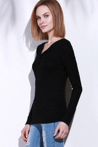 Discount Casual V-Neck Long Sleeve Pure Color T-Shirt For Women - L BLACK Mobile
