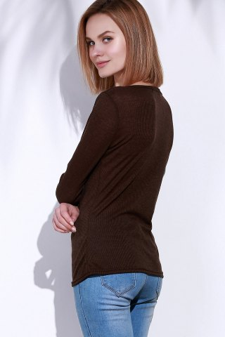 Unique Casual V-Neck Long Sleeve Pure Color T-Shirt For Women - S BROWN Mobile