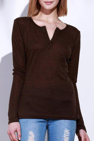 Sale Casual V-Neck Long Sleeve Pure Color T-Shirt For Women - S BROWN Mobile