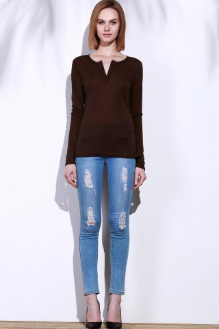 Online Casual V-Neck Long Sleeve Pure Color T-Shirt For Women - S BROWN Mobile