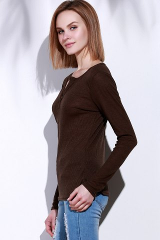 Buy Casual V-Neck Long Sleeve Pure Color T-Shirt For Women - M BROWN Mobile