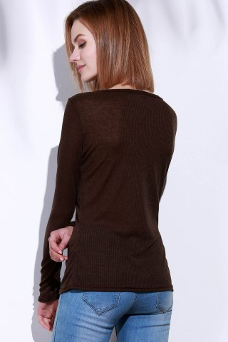 Best Casual V-Neck Long Sleeve Pure Color T-Shirt For Women - L BROWN Mobile