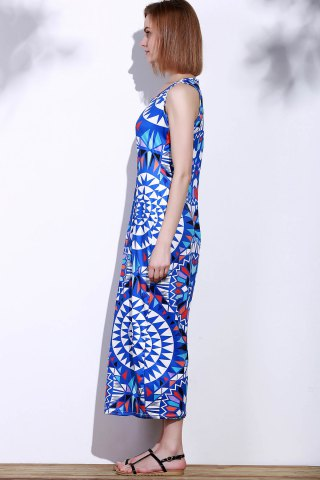 Outfit Bohemian Scoop Neck Sleeveless Printed Maxi Dress For Women - L BLUE Mobile