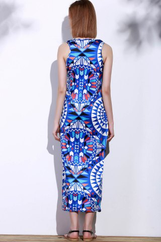 Latest Bohemian Scoop Neck Sleeveless Printed Maxi Dress For Women - XL BLUE Mobile