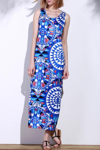 Cheap Bohemian Scoop Neck Sleeveless Printed Maxi Dress For Women - XL BLUE Mobile