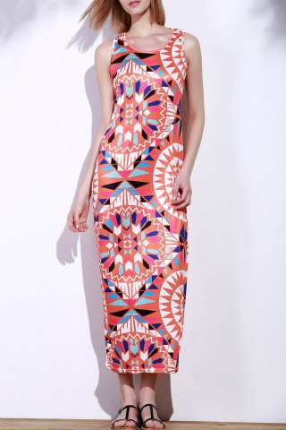 Affordable Bohemian Scoop Neck Sleeveless Printed Maxi Dress For Women - XL RED Mobile