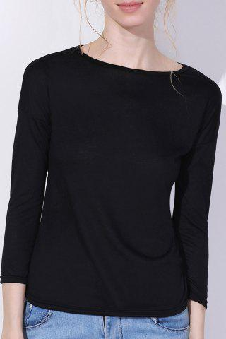Best Chic Scoop Neck Solid Color 3/4 Sleeve T-Shirt For Women BLACK S