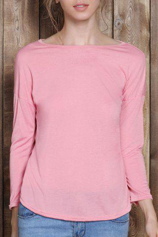 Online Chic Scoop Neck Solid Color 3/4 Sleeve T-Shirt For Women