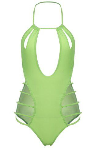 Medium NEON GREEN Halter Solid Color Backless Hollow Out One Piece Swimsuit For Women