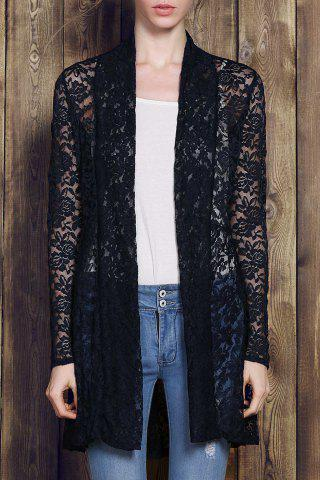 Fashion Plus Size Lace Embroidered Long Sleeve Cardigan For Women