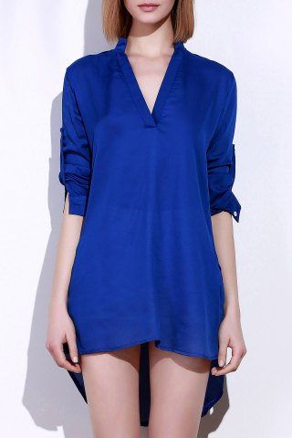 Buy Plunging Neck Long Sleeve Solid Color Loose-Fitting Women's Blouse