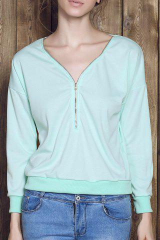 Hot Stylish V-Neck Long Sleeve Zippered Loose-Fitting Women's Sweatshirt GREEN M