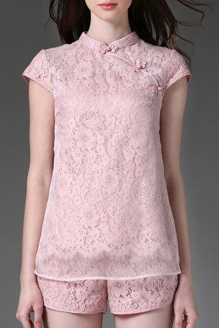 Sale Scalloped Voile Panel Lace Blouse and Shorts