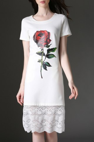 Best Rose Print Lace Paneled Knee Length Dress