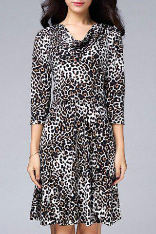 Cheap Cowl Neck Leopard Dress