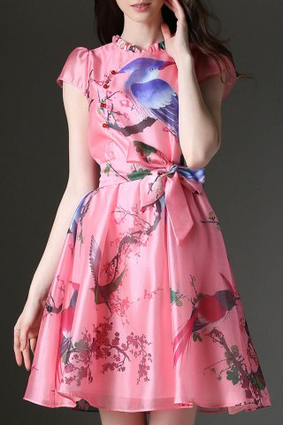 Latest Ruffled Floral and Birds Print Belted Dress