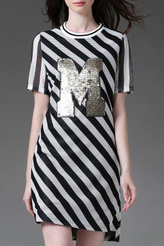 Affordable Stripe Sequined Letter Hollow Out Dress
