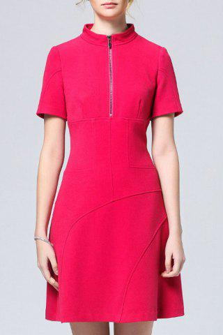 Sale Solid Color Half Zippered Dress