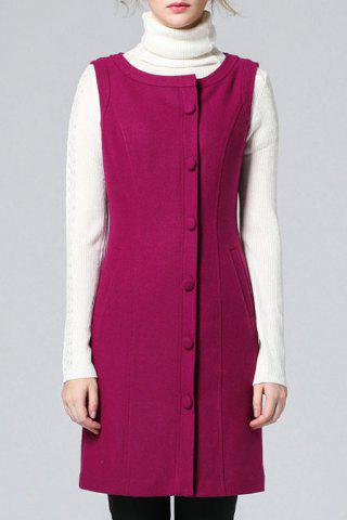 Latest Solid Color Buttoned Waistcoat Dress