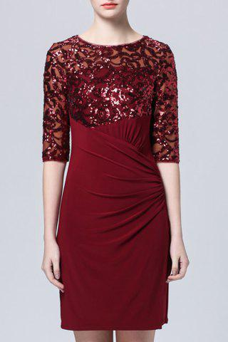 New Waist Pleated Sequined Dress
