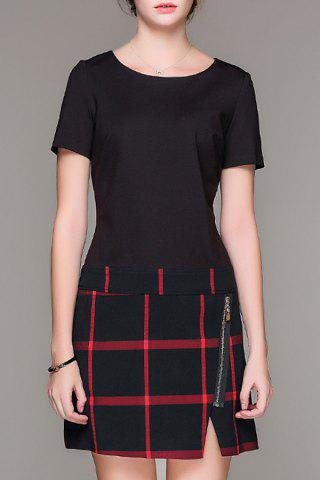 Buy Plaid Print Slit Dress