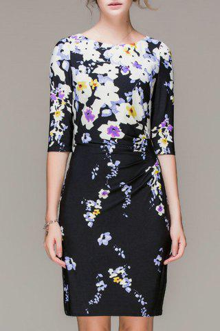 Affordable Waist Pleated Sheath Floral Dress