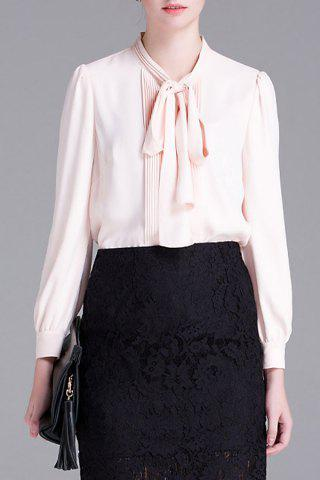 Unique Pleated Bow Collar Blouse