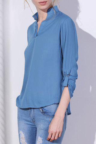Trendy Brief V-Neck 3/4 Sleeve Solid Color Chiffon Blouse For Women