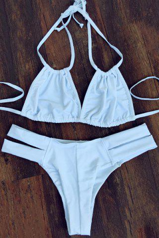 Latest Trendy Halterneck White Women's Bikini Set