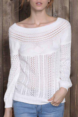 Fancy Chic Boat Neck Long Sleeve Pure Color Women's Sweater WHITE S