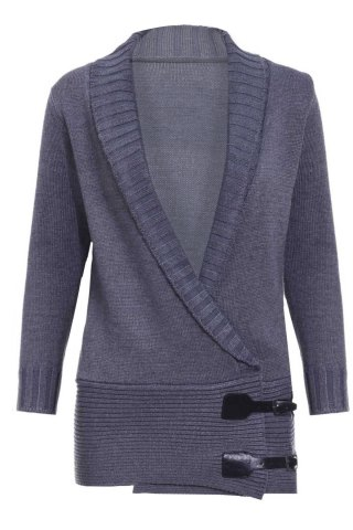 Chic Shawl Collar Long Sleeve Button Design Women's Sweater - GRAY XS