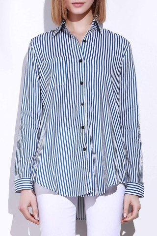 Latest Single Pocket Striped Button Down Shirt - M BLUE AND WHITE Mobile