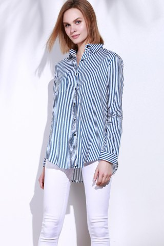 Outfit Single Pocket Striped Button Down Shirt - M BLUE AND WHITE Mobile