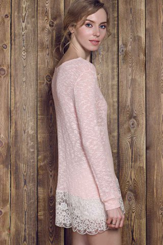 Discount Lace Edge Long Sleeve Long T-Shirt - L PINK Mobile