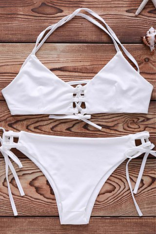 Trendy Spaghetti Strap Lace Up String Bathing Suit WHITE M