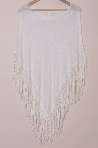 Shop Tassels Open Knit Poncho Cover Up WHITE ONE SIZE(FIT SIZE XS TO M)