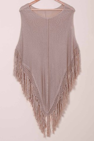 Tassels Open Knit Poncho Cover Up - Khaki - One Size(fit Size Xs To M)