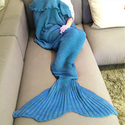 Outfits Fashion Comfortable Falbala Decor Knitted Mermaid Design Throw Blanket LAKE BLUE