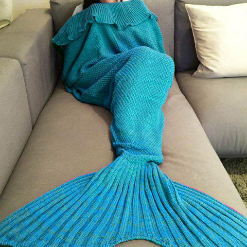 Mode confortable Falbala Decor tricotée Mermaid design Throw Blanket bleu eau