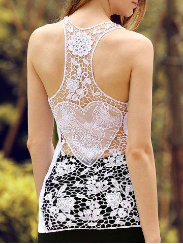 Sheer Lace Racerback Tank Top - White - L