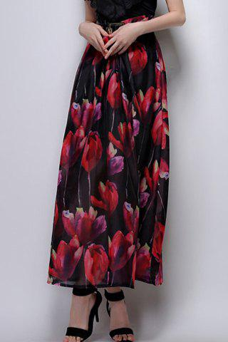 Hot Long Floral A Line Skirt BLACK XL