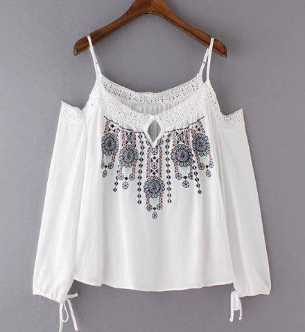 Buy Ethnic Style Spaghetti Strap Cut Out Embroidered Women's Blouse WHITE M