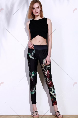 Affordable Active Elastic Waist Bird And Skull Print Slimming Women's Pants - ONE SIZE(FIT SIZE XS TO M) BLACK Mobile